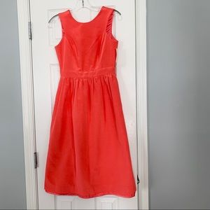Shoshanna coral high neck low back texture dress